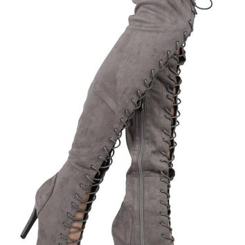Top Show Gray Vegan Suede Open Toe High Heel Lace Up OTK Thigh Boots