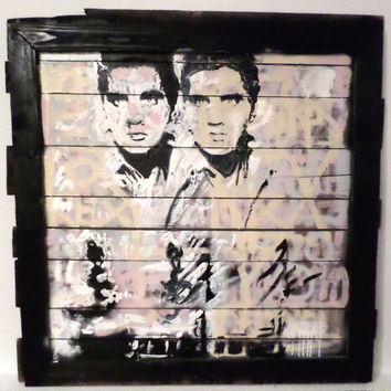 CUSTOM Painting Andy Warhol Double Elvis Reclaimed Wood Art Large Wall Art Large Wood Art Wood Wall Art Upcycled Wood Pallet Art Wall Decor