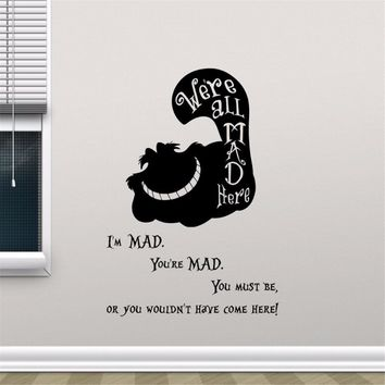 Cheshire Cat Smile Alice In Wonderland Quote Vinyl Wall Sticker Cartoon Wall Art Kids Room Bedroom Decor Mural Wallpapers