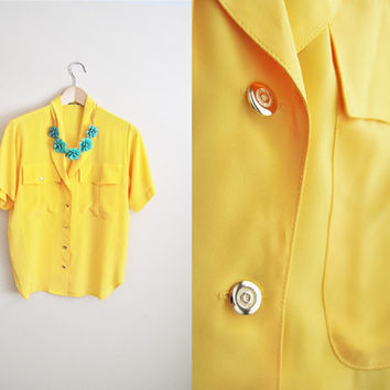 Rise and Shine - Vintage 90s Bright Yellow Button Up OVersized Top Shirt