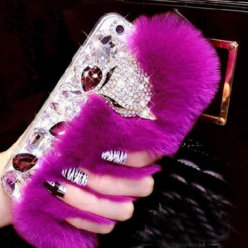 So Beautiful Handmade Bling Crystal Rhinestone Warm Rabbit Fur creative case for iPhone 5s 6 6s Plus Samsung Galaxy S6