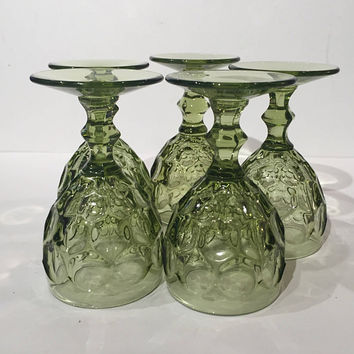 Imperial Provincial Green Glass Wine Goblets|  Set of 5 Green Thimbprint Wine Cordials