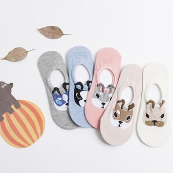 Dog Face Sock Slippers Set - Women's / Teen Girls' Indoor Sock Slippers