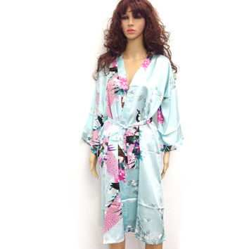 10 Colors Plus Size 3XL Womens Floral Sleepwear Satin Bridesmaid Nightgown Dress Japanese Kimono Robes D151