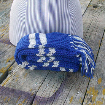 Knitted Blue and Silver Striped Long Scarf Potter Ready to Ship
