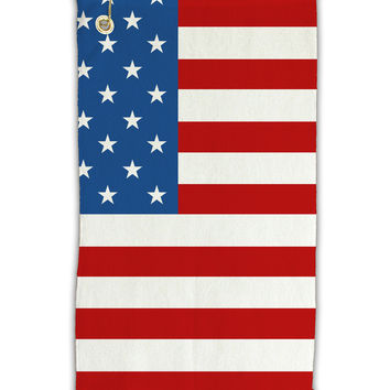 "USA Flag AOP Micro Terry Gromet Golf Towel 11""x19"" All Over Print"
