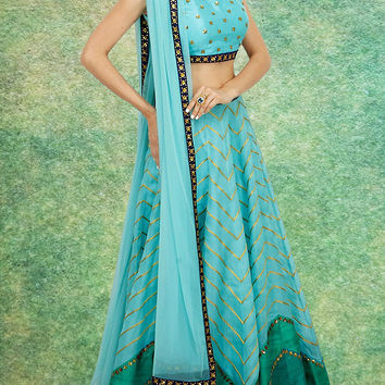 Women's Raw Silk Fabric & Blue Pretty Circular Lehenga Style