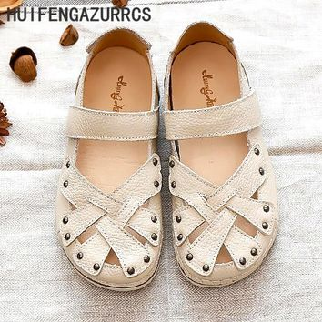 HUIFENGAZURRCS-2017 Spring Genuine leather sandals,Original big head moppet shoes,College style hand weave sandals,3 colors