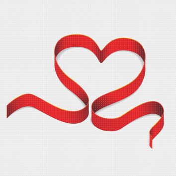 Contemporary Valentine Heart Ribbon Sew So Simple ™ Counted Cross Stitch or Counted Needlepoint Pattern