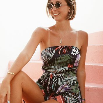 Vacation Time Tropical Print Romper (Navy)
