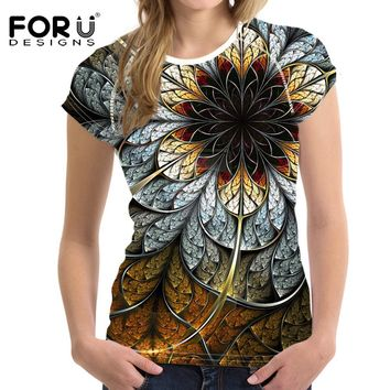 FORUDESIGNS 3D Flowers Rose T-shirts Women Summer Tops Tees Print T shirt Women Fashion Tshirts Vetement Femme Female T Shirts