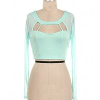 Mesh Sleeve Cut Out Top