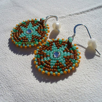 Native American Style Rosette beaded Morning Star earrings in Gingerbread,Zuni Turquoise and Pumpkin
