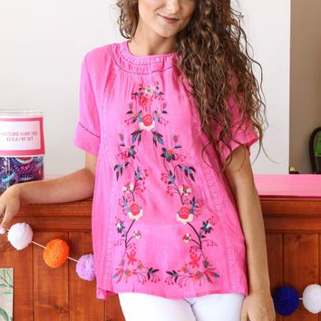 Floral Embroidered Tee, Pink