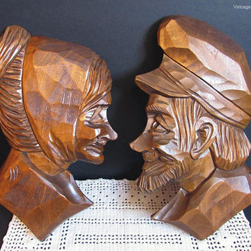 Vintage Wooden Carvings, Wall Hangings, Handmade Quebec Folk Art, Hand Carved Wood, Old Man, Old Lady