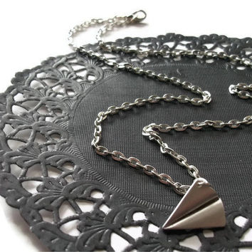 Silver Paper Plane Necklace Origami Jewelry by TheBonnyBoutique