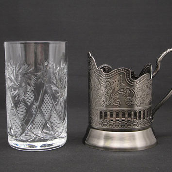 Russian High QUALITy Cut Crystal Glass cup with Metal cup Holder --GREAT GIFT Crafted in Russia. LET's DRINk to your health ...