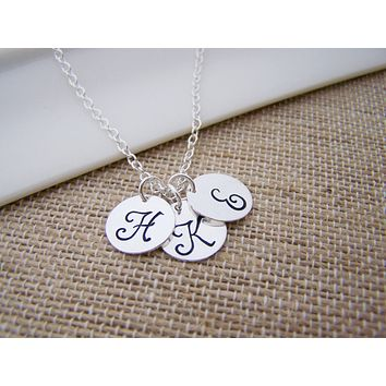 THREE INITIAL Disc Dainty Silver Hand Stamped Initial Personalized Bridesmaid Necklace / Gift for Her