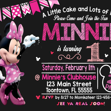 Minnie Mouse Invitation | Minnie Mouse Birthday Invitation | Minnie Mouse Invitation | Minnie Mouse Printable | Turnaround Time 12-24 hr|