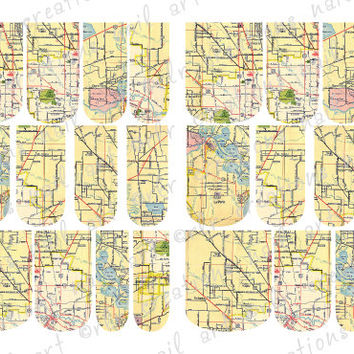 24- Vintage Map  Full Nail Wrap Water Slide Nail Art Decals Full Color and 12 Sizes inc Toe Nail Size