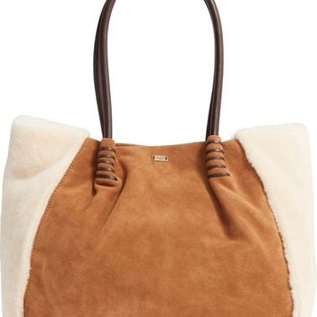 UGG® Heritage Leather and Genuine Shearling Tote | Nordstrom