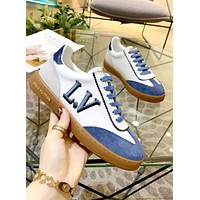 LV 2019 new female models personality versatile lace sports and leisure flat shoes Blue