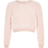 Girls cream super soft fluffy jumper