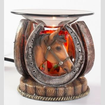 Horseshoe Horse Table Fragrance Aroma Lamp Oil Diffuser Wax Tart Candle Warmer Burner Home Decor