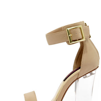 Dollhouse Glass Nude and Lucite High Heel Dress Sandals