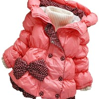 Cute Baby Girls Big Bow Dot Pattern Cotton Hooded Snowsuit Outwear Jacket