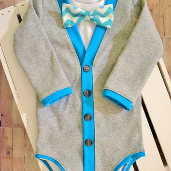 Baby Cardigan: Gray with Turquoise Trim with Interchangeable Tie Shirt and Bow Tie