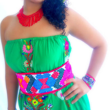 Quetzalli  Stunning Handmade Mexican Embroidered Belt