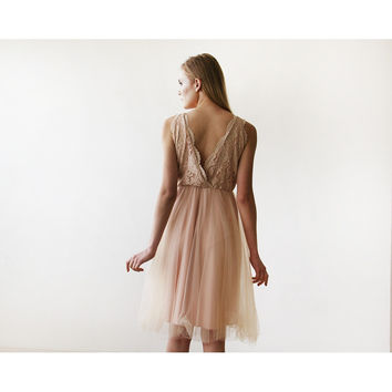 Pink Tulle and Lace Short Dress 1157