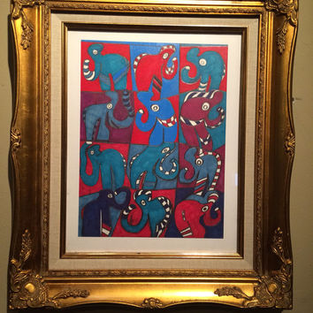 "Original Mixed media Art of Elephants in Gold Frame.  ""The Art of Balance"""