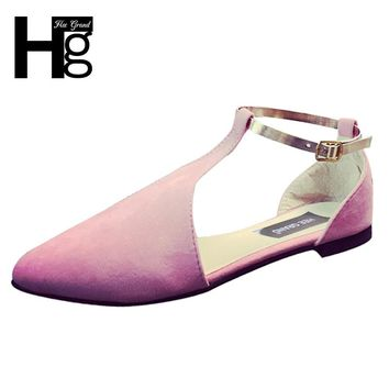 HEE GRAND Fashion Women's Sandals Pointed Closed Toe Shoes T-Strap Buckle Cover Heel Flat with Shoes for Woman XWC1167