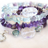 Amethyst Bracelet Fluorite Bracelet Crackle Quartz Wrap Bracelet Gemstone Sterling Silver Hearts Gift for girlfriend Gift idea for women