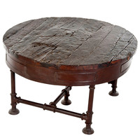 Comus Round Iron & Wood Coffee Table