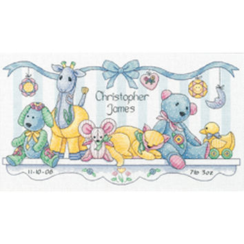 """Baby Hugs Baby's Friends Birth Record Counted Cross Stitch K-14""""""""X8"""""""" 14 Count"""