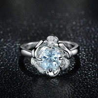 1.50ctw Round Aquamarine Engagement ring,VS Diamond wedding band,14K Gold,Gemstone Promise Ring,Bridal Ring,IF Blue Aquamarine,Unique Flower