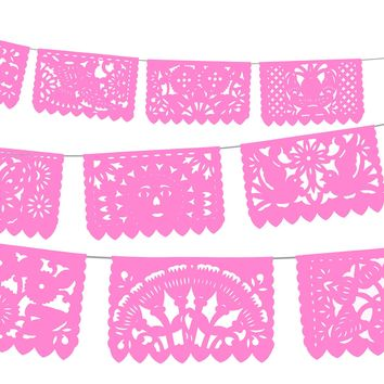 5 PK Light Pink Mexican papel picado banners, Mexican Fiesta Decorations, 60 FT Long, WS2000