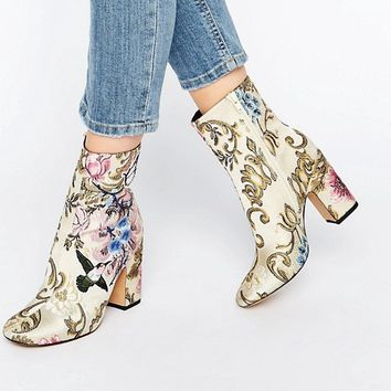ASOS EDITH Embroidered Boots at asos.com