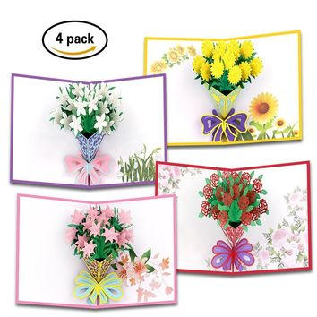 Flower Pop Up Cards | Handmade Pop Up Cards for All Occasions | 4 Pack Flower Cards for Women | Thanksgiving Pop up Cards, Envelope Included | Perfect as Birthday & Christmas Gift