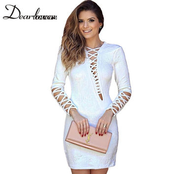 Dear lovers Autumn Women Club Dresses 2016 White Lattice Holoow Out Long Sleeve Mini Party Dresses For Women Ropa Mujer LC22733
