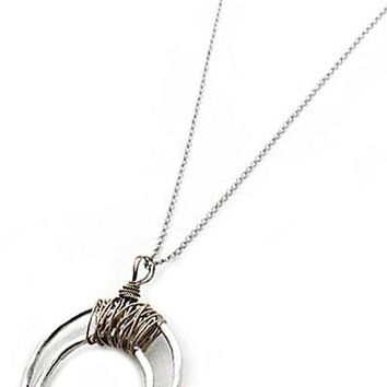 Metal Crescent Moon Pendant Necklace Set