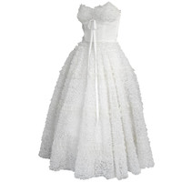 1950s My Little Cupcake White Strapless Ruffle Tulle Tea Length Party Wedding Dress