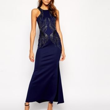 Lipsy Embellished Maxi Dress with Racer Top Detail