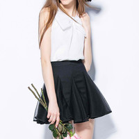 White Bow Chiffon Shirt and Mesh Skirt