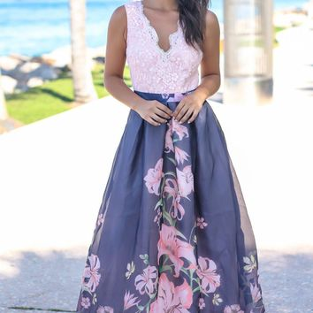 Blush and Navy Floral Maxi Dress