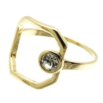 Clear Radiant Shape Cutout Metal Ring