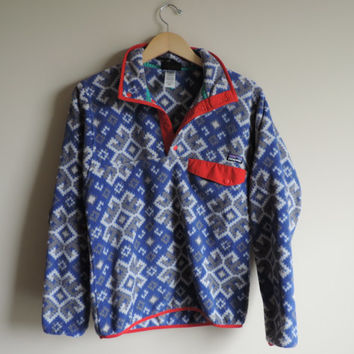 Vintage Men's Patagonia Blue Purple Tribal Aztec Fleece Pullover // Size XS